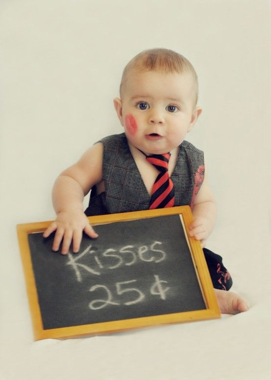 cute adorable baby boy Valentine's Day photo shoot ideas kisses booth, chalkboard kisses, suit and tie baby photos, kiss me photo