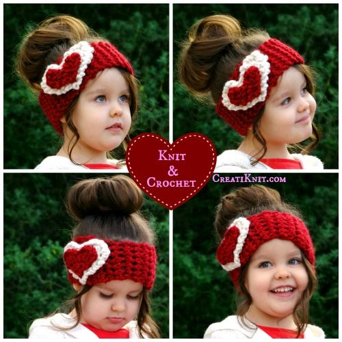 cute knit and crochet heart headband, Valentine's day knit crochet craft, adorable knit hat for girls red and white