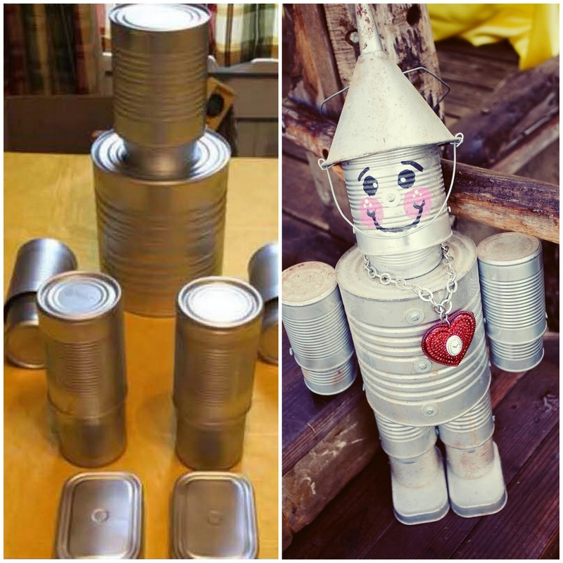 DIY tin man from soup cans, cute Valentine's day craft ideas for kids