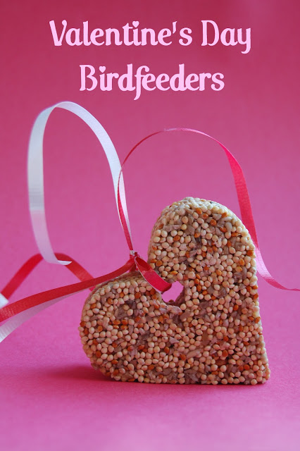 DIY Valentine's Day bird feeders birdfeeders, cute Valentine's day bird craft, fun craft for kids classroom party ideas