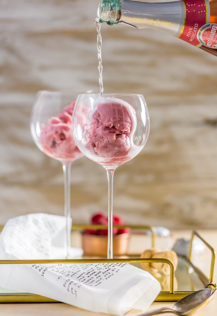Raspberry pink champagne floats, Valentine's day drink ideas, Valentine's day cocktail, Valentine's Day food ideas