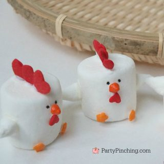 Rooster Marshmallows, Chinese New Year 2017 Rooster dessert, cute dessert treat for Lunar New Year, fun food for kids, sweet treats, easy dessert for Chinese New Year
