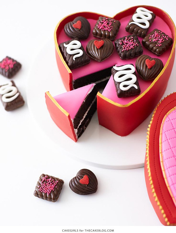 Valentine's Heart Candy box cake tutorial, gorgeous beautiful Valentine's day dessert recipe, candy heart box for Valentine's day