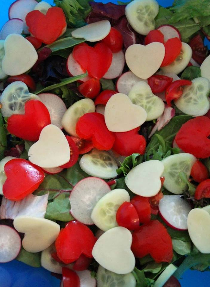 valentines day salad, healthy valentine treat, cucumber red pepper cheese hearts, veggie hearts, valentines day dinner ideas