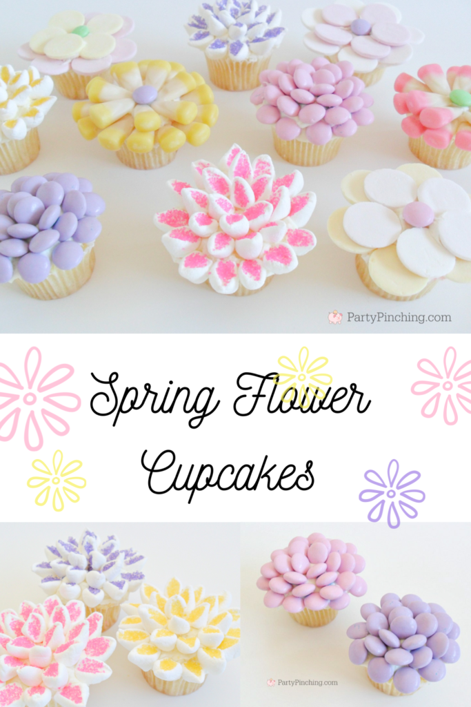 Spring flower cupcakes easy to make, marshmallow candy flower cupcakes, best Easter cupcake dessert recipe, pretty beautiful flower cupcakes