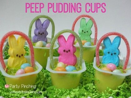 Best Easter food and craft ideas, Peep pudding cups baskets