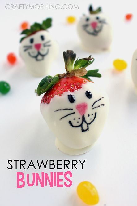 strawberry bunnies, Best Easter food and craft ideas, cute easy Easter food and crafts for kids, Best bunny cookies, pancakes Easter carrot utensils