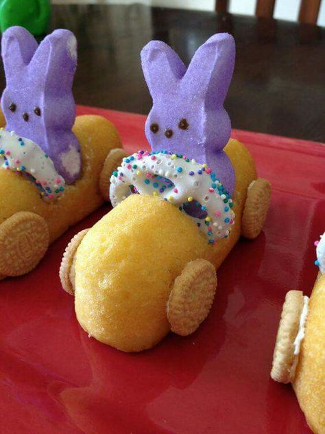 Best Easter food and craft ideas, Peep Easter Bunny Race Car Twinkies