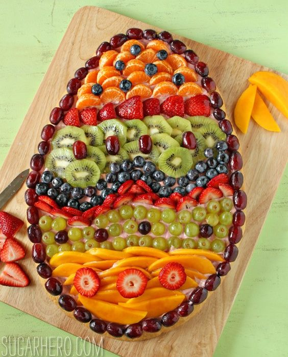 fresh fruit Easter Egg pizza platter brunch, Best Easter food and craft ideas,