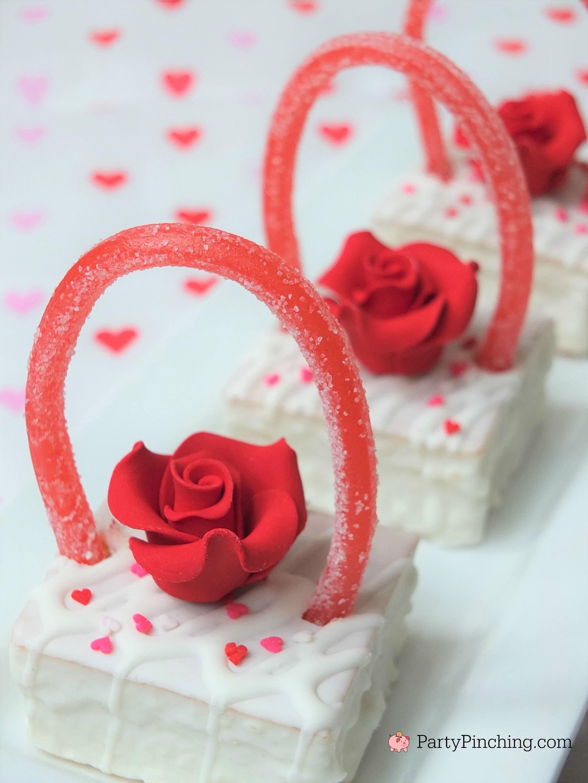 Easy Valentine's Day dessert ideas, Valentine snack cake baskets, cute food, fun food for kids, Valentine's Day party classroom idea treats, Little Debbie Fancy Cakes, adorable pretty Valentine's Day dessert ideas