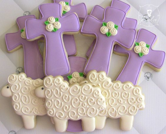 Best Easter ideas cross lamb religious cookies, beautiful dessert treat celebrating Christ