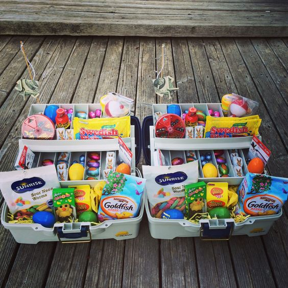 Best Easter food and craft ideas, fishing tackle Easter basket box