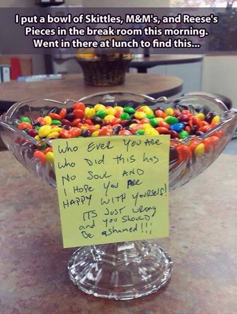 April Fools day food pranks m&m's skittle mix