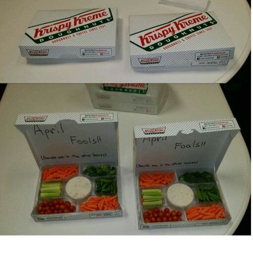 April Fools day food pranks krispie kreme donuts veggie tray