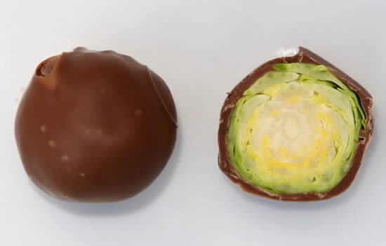 April Fools' Day food pranks brussel sprouts truffles dipped in chocolate