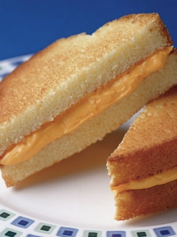 April Fools' Day food pranks pound cake and frosting grilled cheese