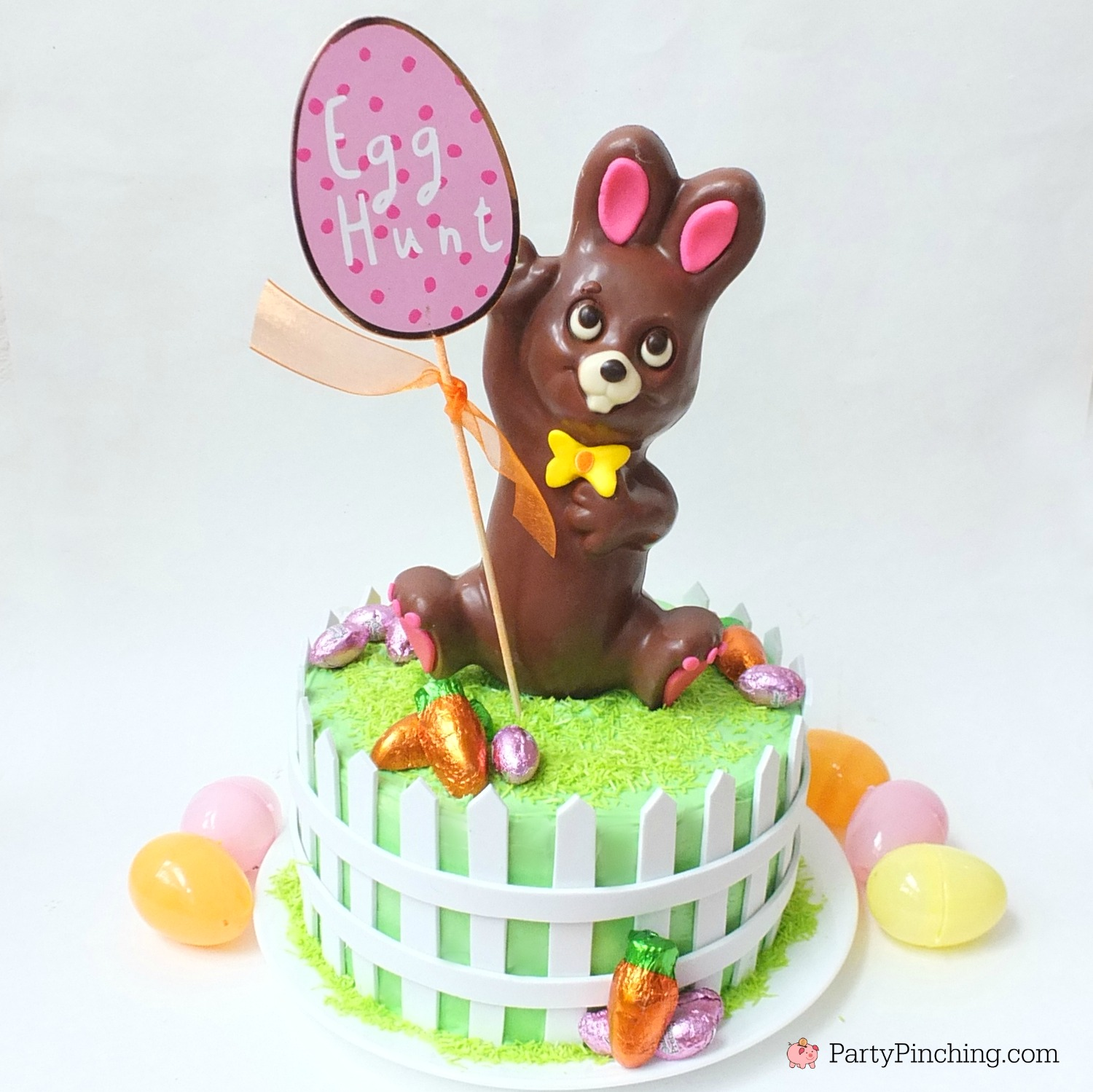 Easter bunny egg hunt cake, chocolate bunny cake, RM Palmer Hoppy Hideout bunny cake, cute and easy Easter dessert cake recipe, fun food for Easter, kid friendly Easter brunch ideas