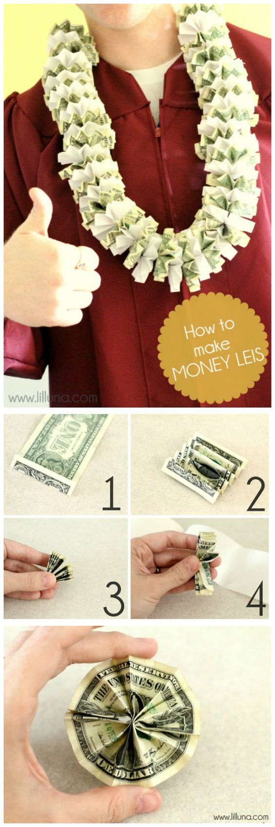 Money lei, Best Graduation gift ideas, fun and easy DIY graduation grad gifts, thoughtful graduation gift, money origami graduation gifts, money gift cards graduation gift ideas