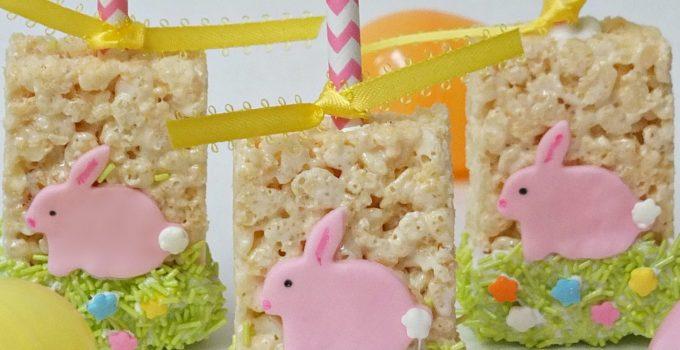 Easter Rice Krispie Treats, cute easy bunny dessert idea for Easter, fun food for kids for Easter Spring, Rice Krispie Treat pops