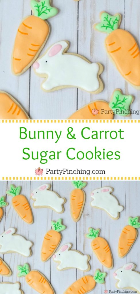 bunny and carrot sugar cookies, cute and easy Easter cookies, adorable Easter cookies for kids, fun food for kids, sweet treats for Easter and Spring, Springtime cookies