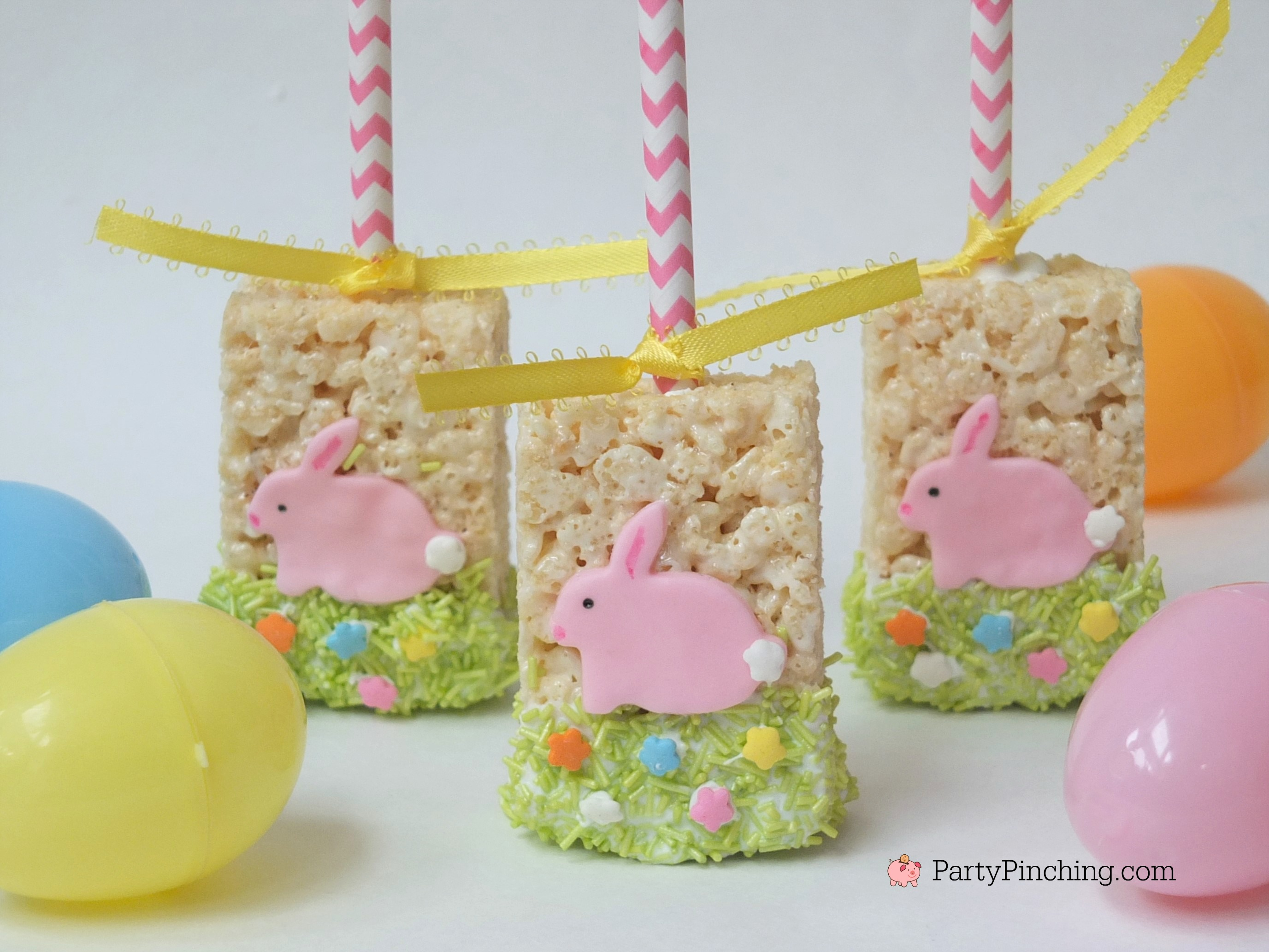Easter Rice Krispie Treats, cute easy bunny dessert idea for Easter, fun food for kids for Easter Spring, Rice Krispie Treat pops
