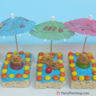 Kiddie Pool Rice Krispie Treats, pool snack, beach theme snack, easy summer recipe ideas for dessert, teddy graham summer snack, beach party ideas, pool party ideas, party pinching, partypinching.com