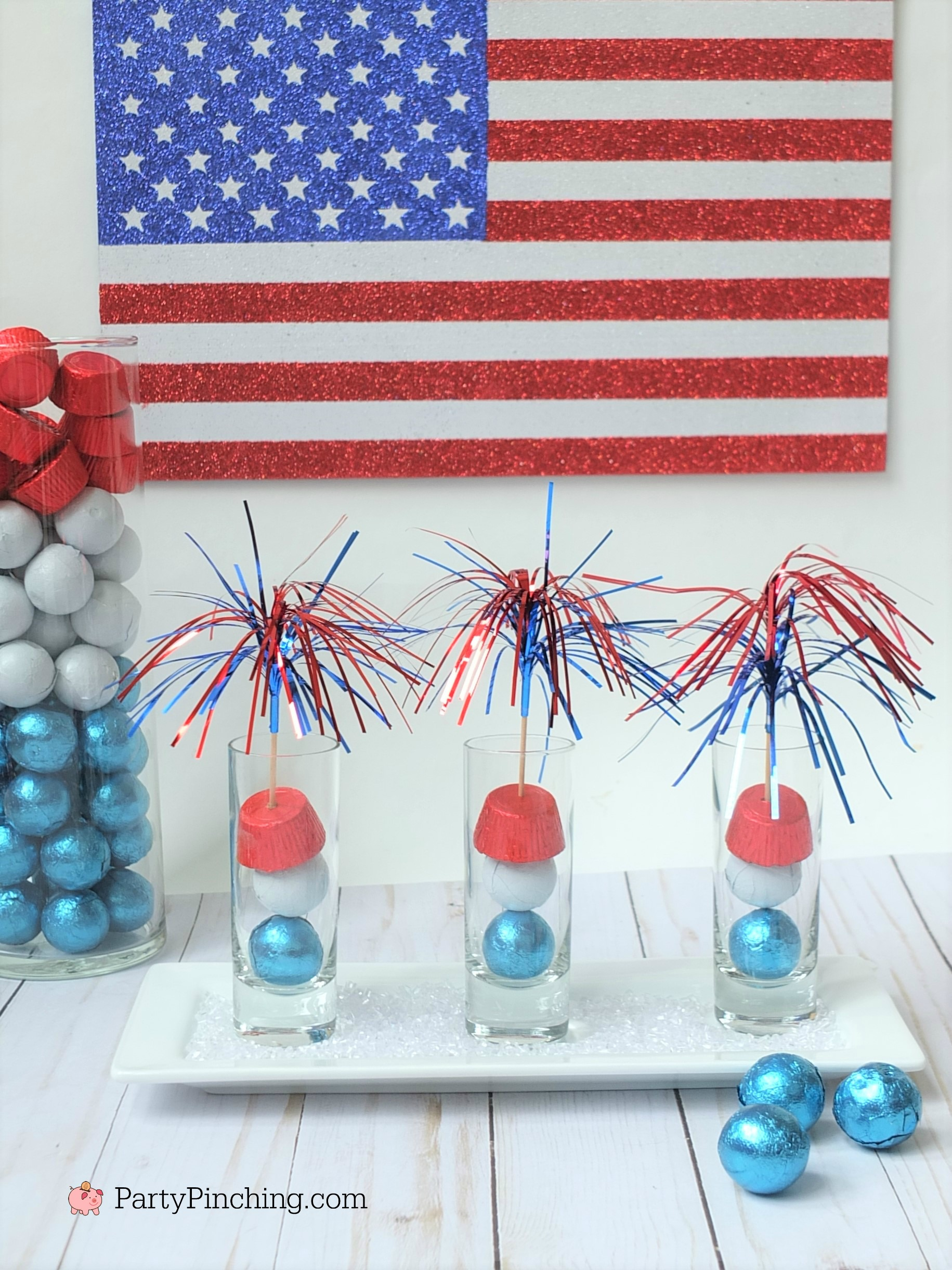 4th of July candy, 4th of July treat ideas, Independence Day party ideas, Memorial Day food ideas, cute food, fun food for kids, firecracker candy, easy recipe ideas for 4th of July, RM Palmer candy red white blue
