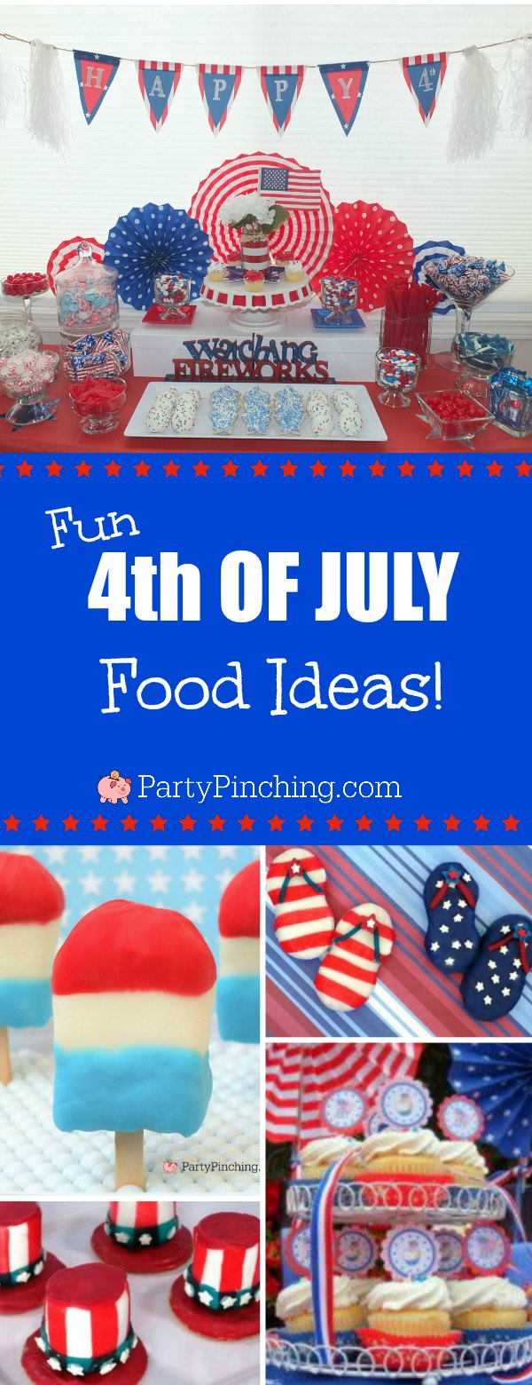 4th of July, Fourth of July party ideas, fun 4th of July party treat ideas, 4th of July food, fun food for kids, patriotic party ideas, firecracker fireworks, red white blue, 4th of July cookie, 4th of July candy buffet, watermelon cookies, flip flop cookies