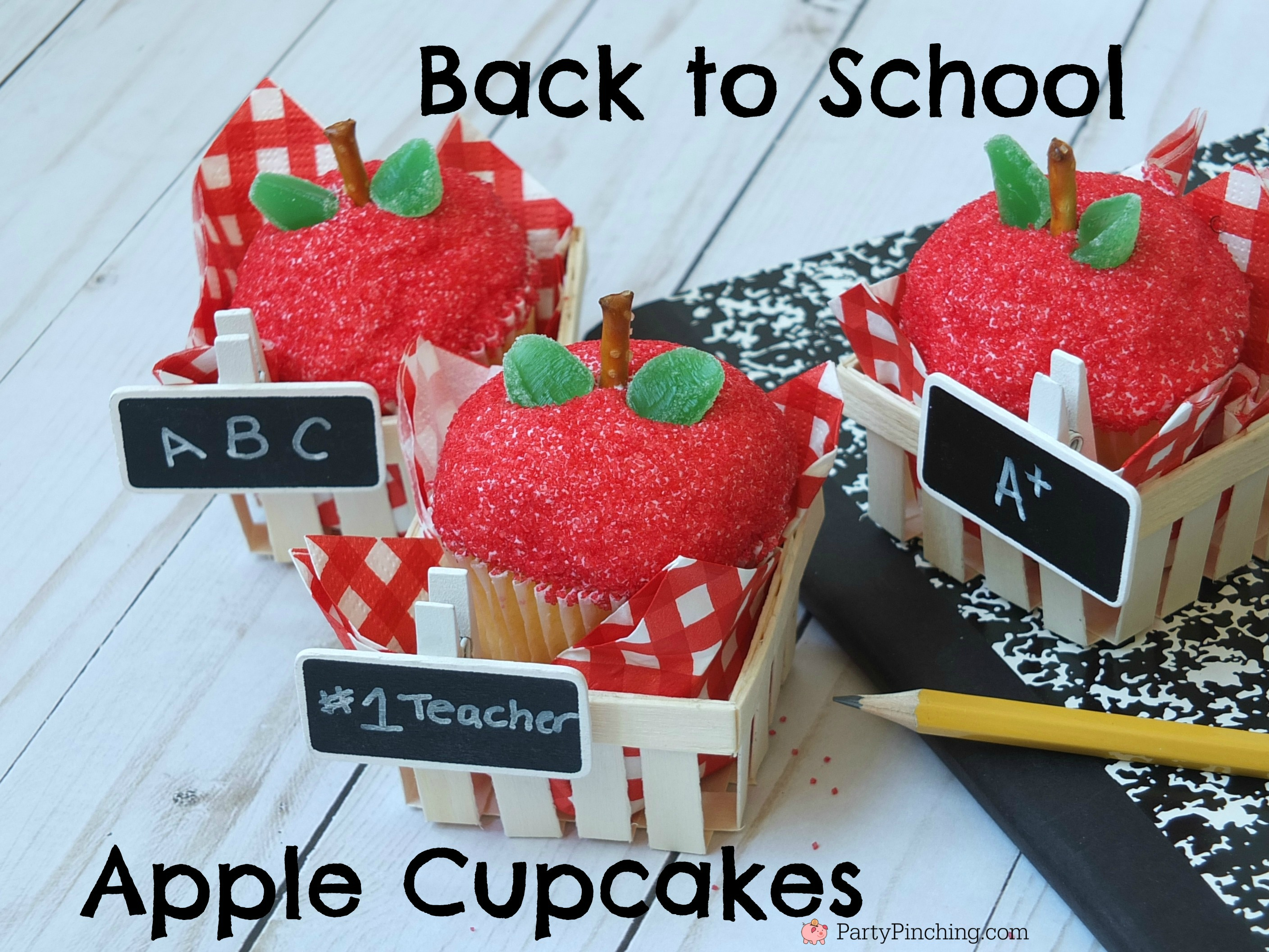 Back to school apple cupcakes, teacher gift treat ideas, fun and easy cupcakes, apple decorated cupcakes, store bought cupcakes, fun food for kids, sweet treats, after school snack, school party classroom ideas