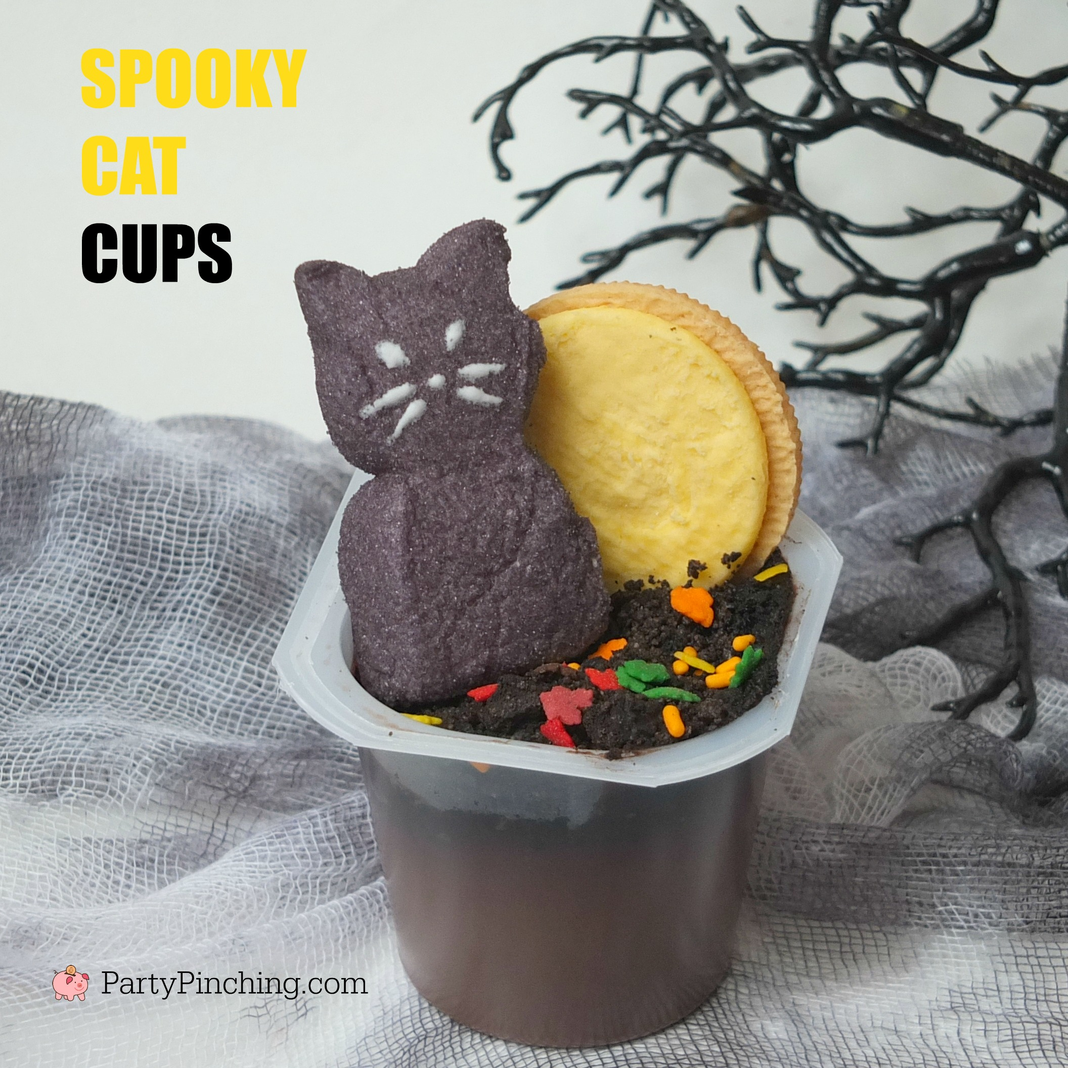 Halloween Pudding cups, easy to make Halloween treats for kids, dessert ideas for Halloween, cute food, fun food for kids, sweet treats, ghost PEEPS, cat PEEPS, tombstone cookies, witch's brew pudding, ghost pudding cups, graveyard pudding cups