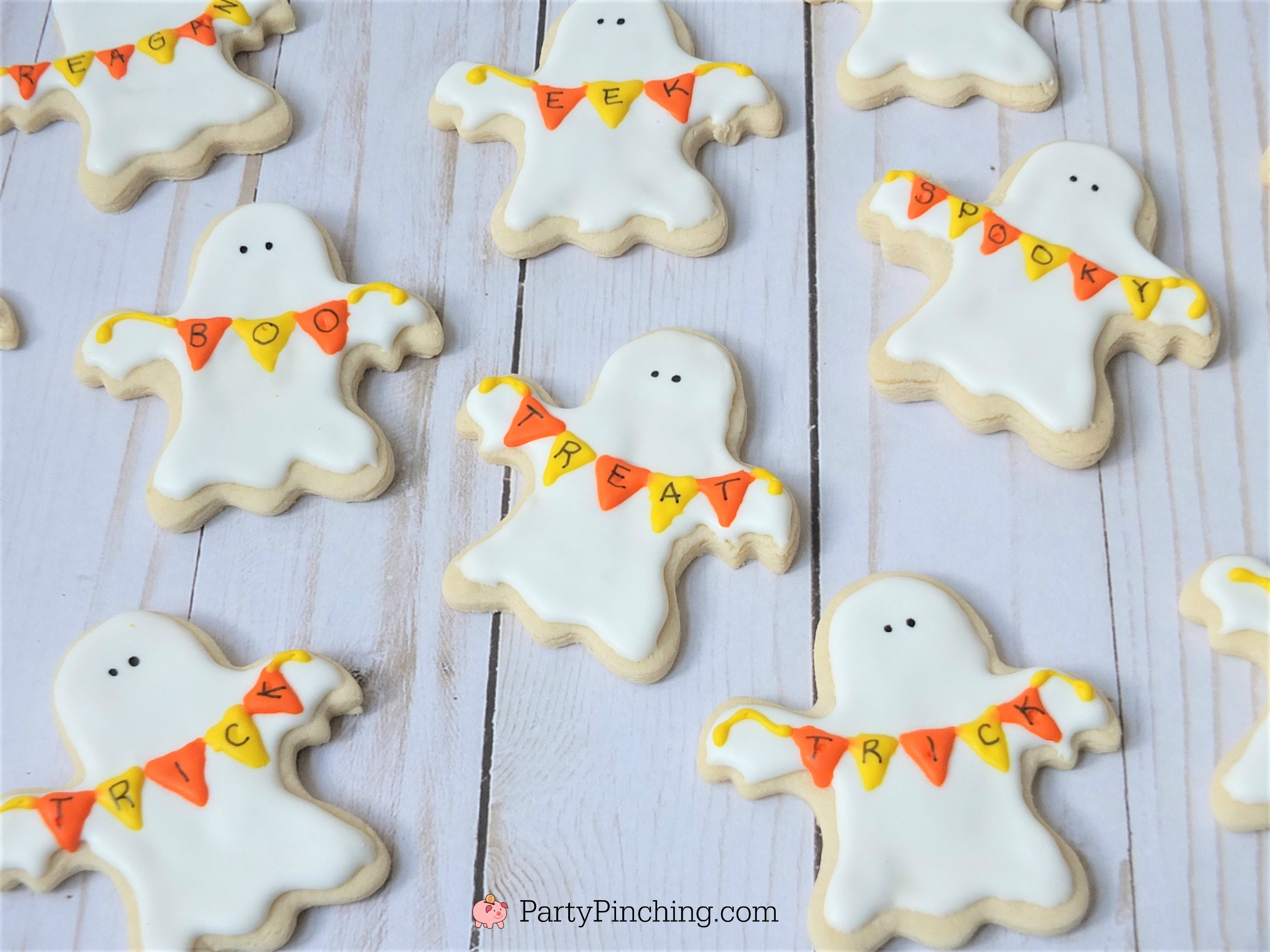 Ghost banner cookies, Halloween sugar cookies decorated royal icing, ghost banner cookies, cute Halloween cookies, black cat cookies, bat cookies, cute candy corn cookies, cute pumpkin jack o lantern cookies