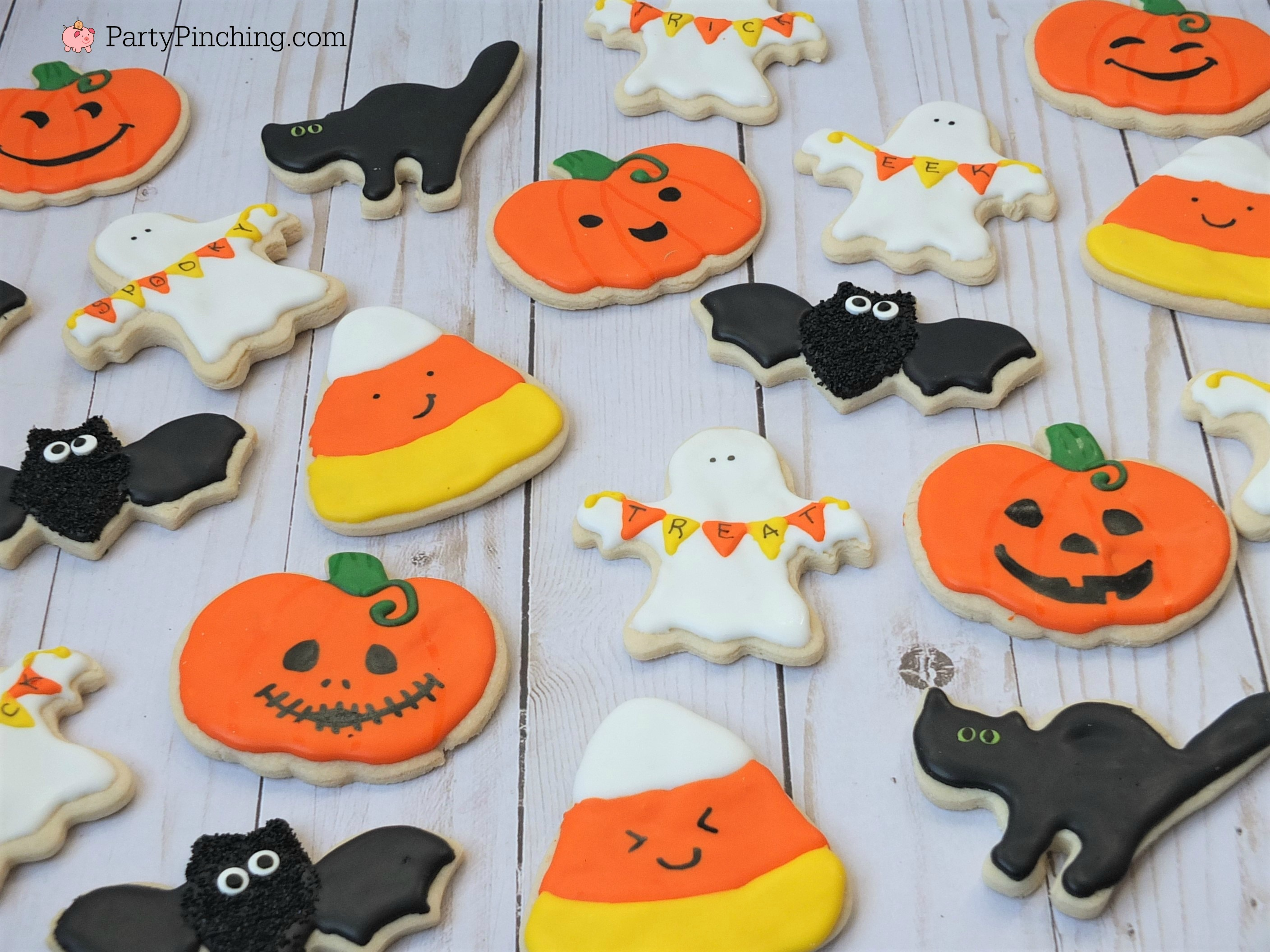 halloween sugar cookies decorated ghost banner cookies, cute candy corn