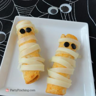 mummy appetizers, fiesta chicken roll-ups, mummy food, Halloween food, cute Halloween food ideas, easy Halloween food ideas, cute food, fun food for kids, Farm Rich