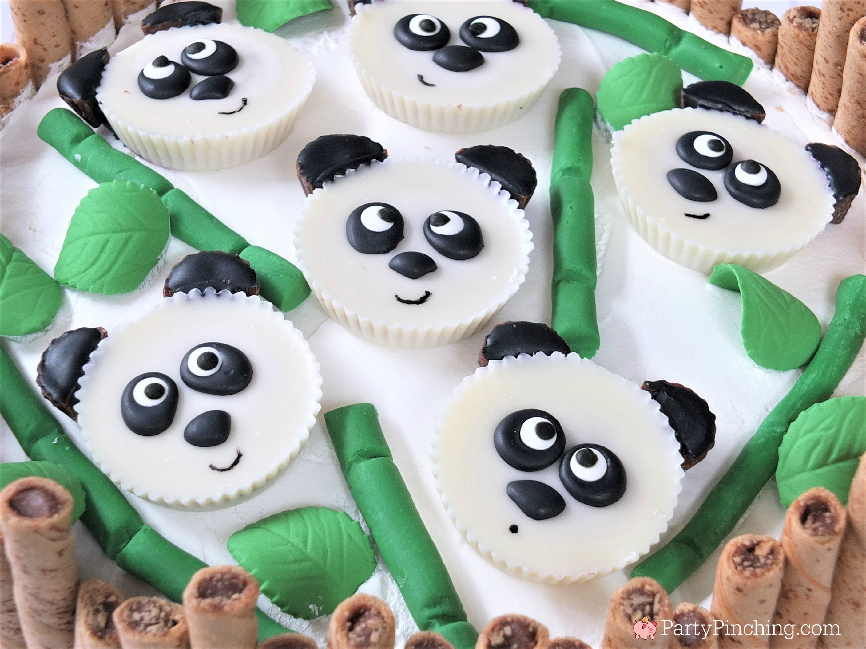 panda peanut butter cups, cute panda cake, panda party ideas, panda treats, panda dessert, panda cupcake, white chocolate Reese's Peanut Butter cups, cute food, fun food for kids, sweet treats, Chinese New Year ideas