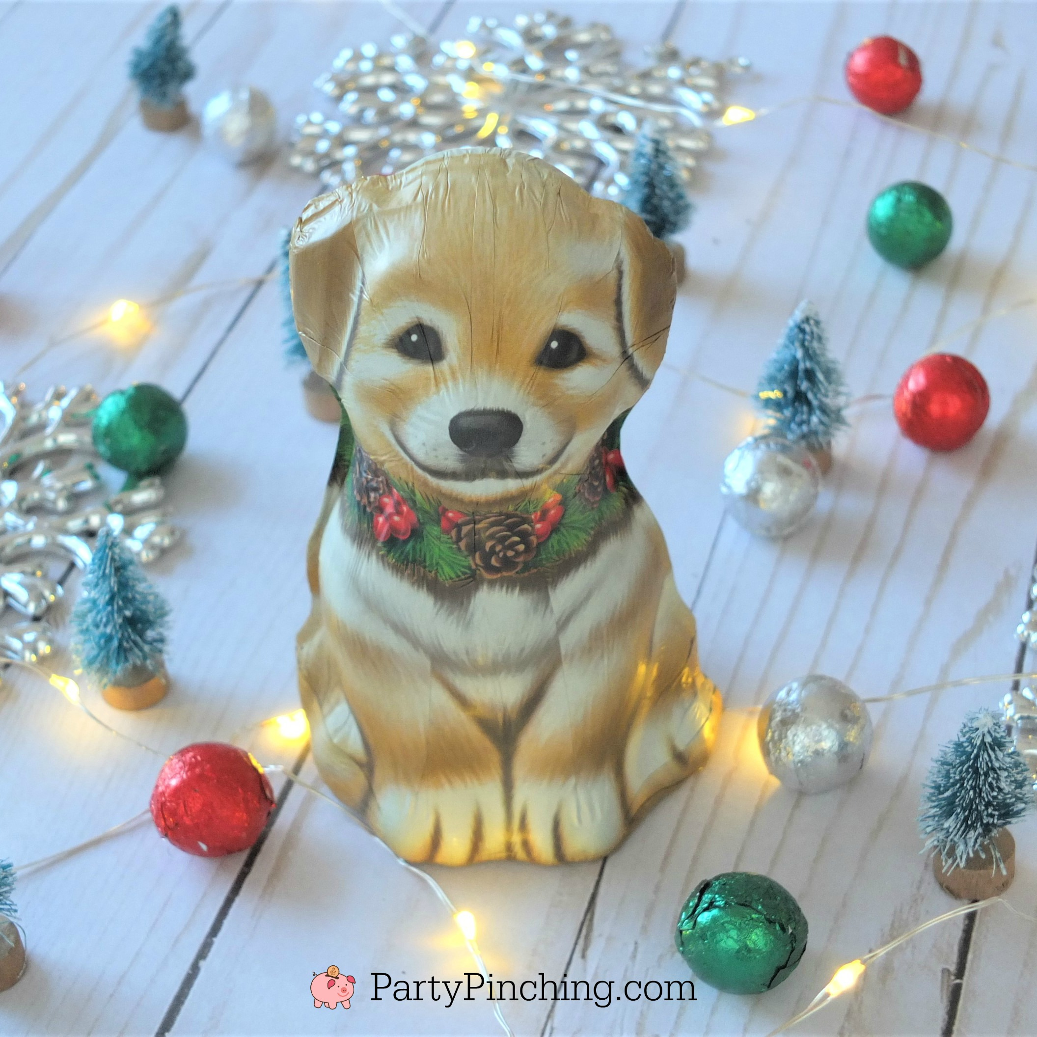 cute chocolate puppy stocking stuffer for Christmas, kids stocking ideas