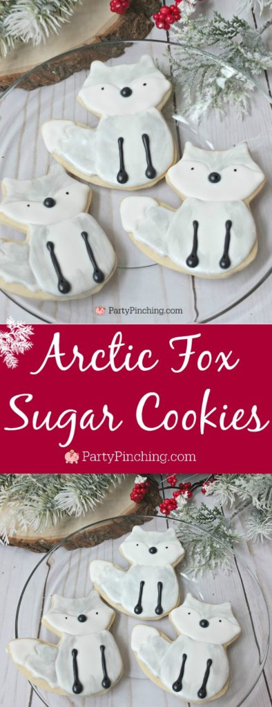 Arctic white fox Christmas Cookies, arctic fox cookies, white fox cookies, white winter woodland creature party ideas, cute food, fun food for kids, winter cookies, winter food ideas, snowy cookies, silver fox cookies