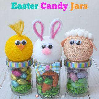 Cute Easter jar craft animals bunny chick lamb, fun and easy Easter craft for kids, Easter candy favor, RM Palmer candy