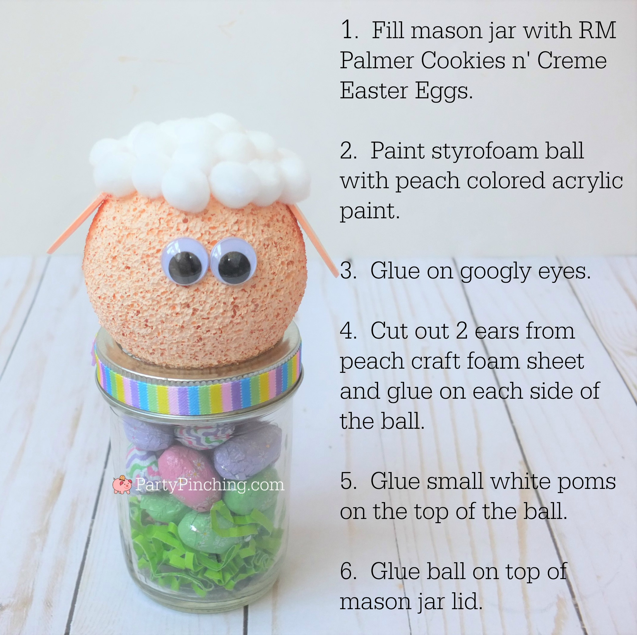 Lamb sheep Easter candy mason jar craft, Cute Easter jar craft animals bunny chick lamb, fun and easy Easter craft for kids, Easter candy favor, RM Palmer candy