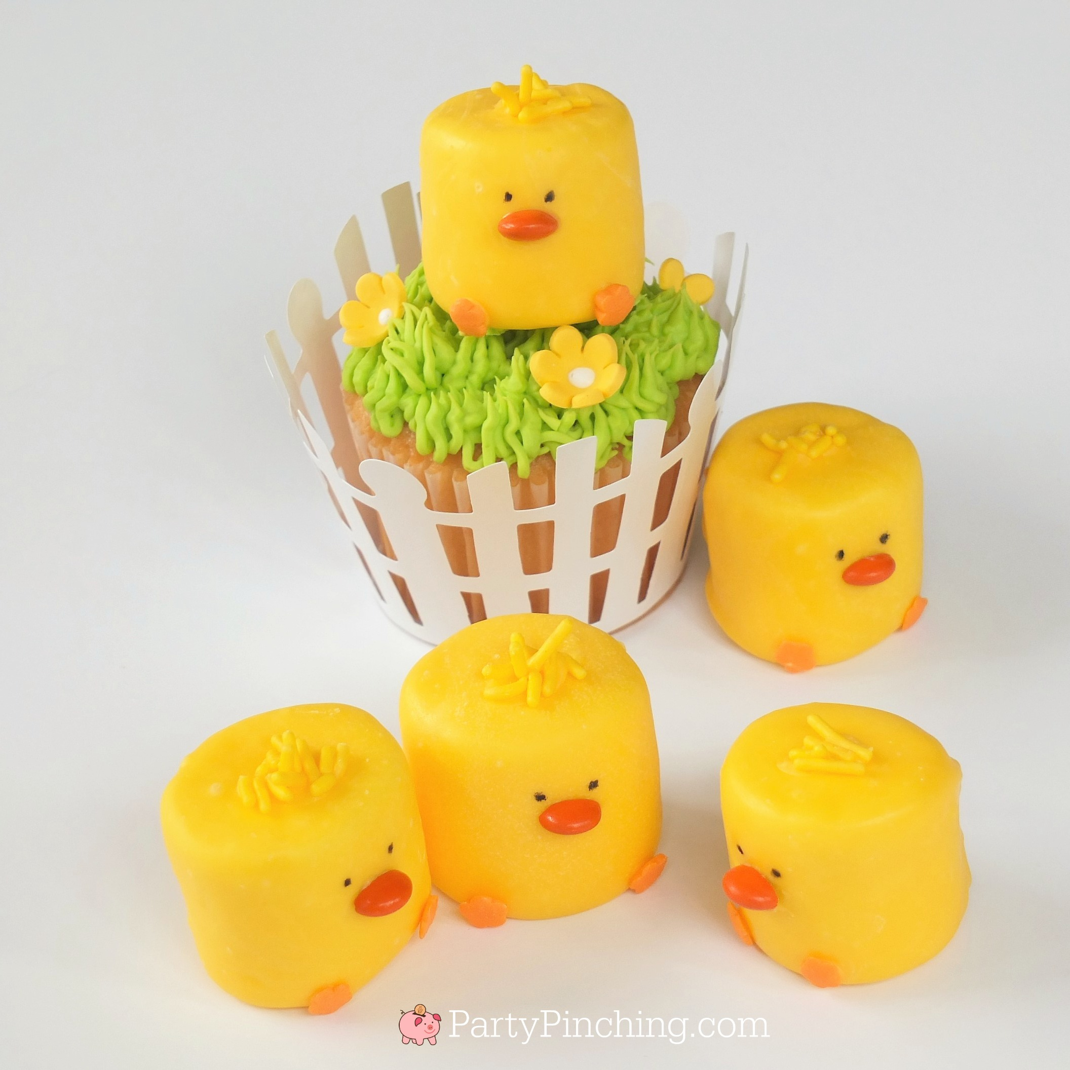cute marshmallow chicks for Easter or spring, chick cupcake topper, chick on a stick, chick pops, cute and easy Easter dessert kids will love to make