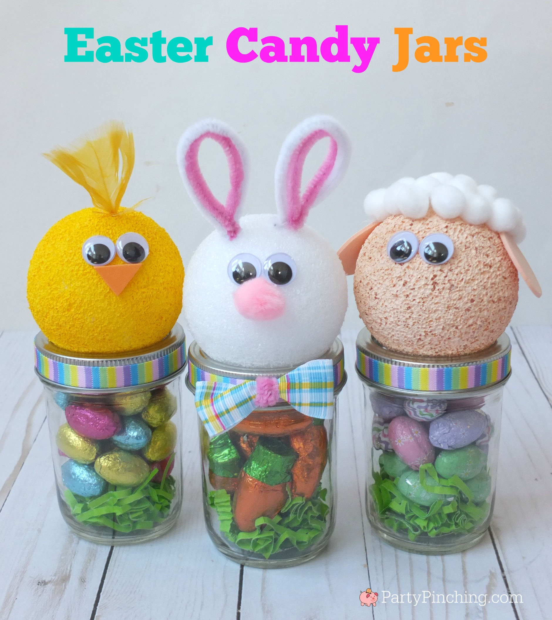 Easter Mason Candy Jars, Best DIY Easter Basket Ideas