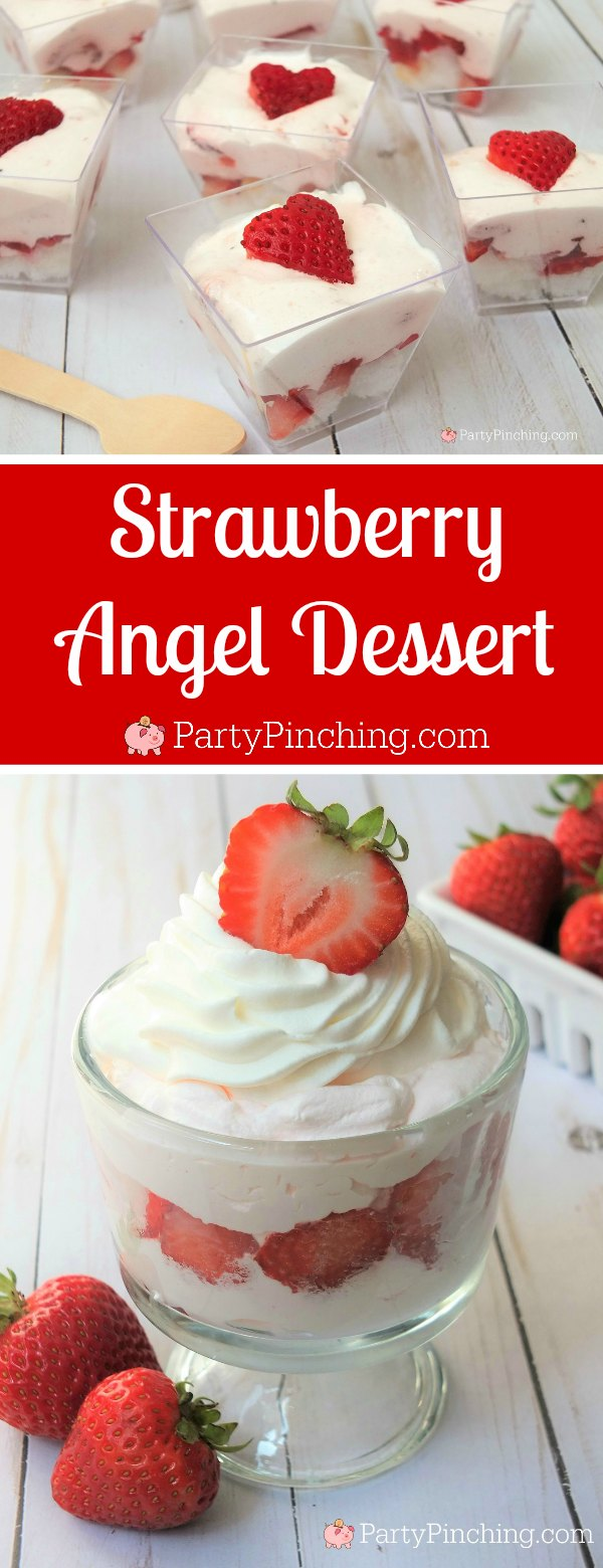 strawberry angel food cake dessert, fluffy strawberry dessert, easy strawberry mousse dessert, refreshing summer dessert, best potluck dessert, spring Easter dessert ideas, easy strawberry dessert