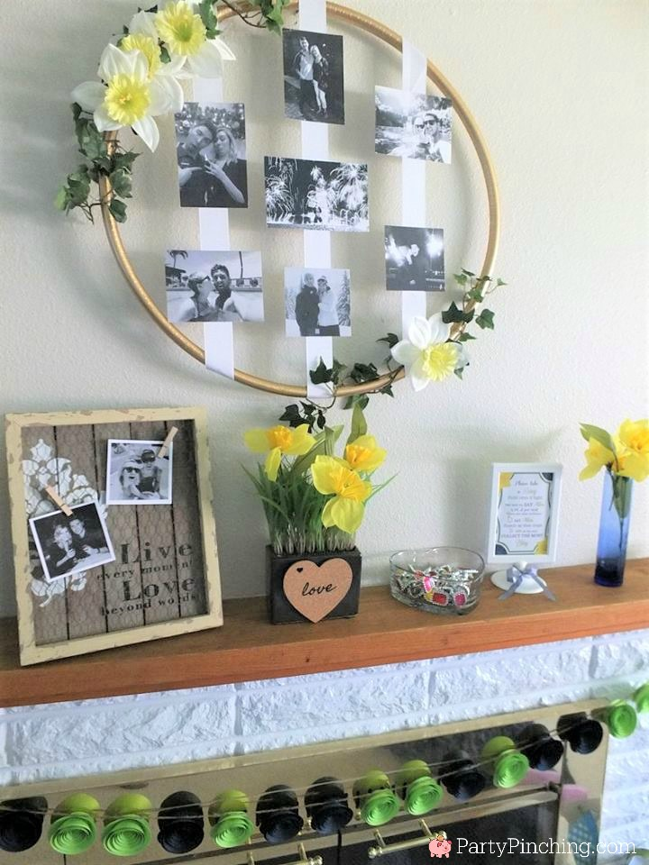 Hula hoop picture craft, Spring bridal shower, daffodil bridal shower, navy and green bridal shower, easy bridal shower food ideas, bridal shower ring game, cute food for bridal shower, easy desserts, mason jar apple rhubarb pie, mini pies, mini strawberry shortcake