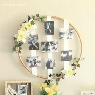 photo wreath, hula hoop wreath, DIY wedding wreath, DIY photo wreath, dollar store wreath, pretty hoop decoration, inexpensive party decor, easy budget friendly wedding bridal shower baby shower graduation birthday special occasion celebration ideas