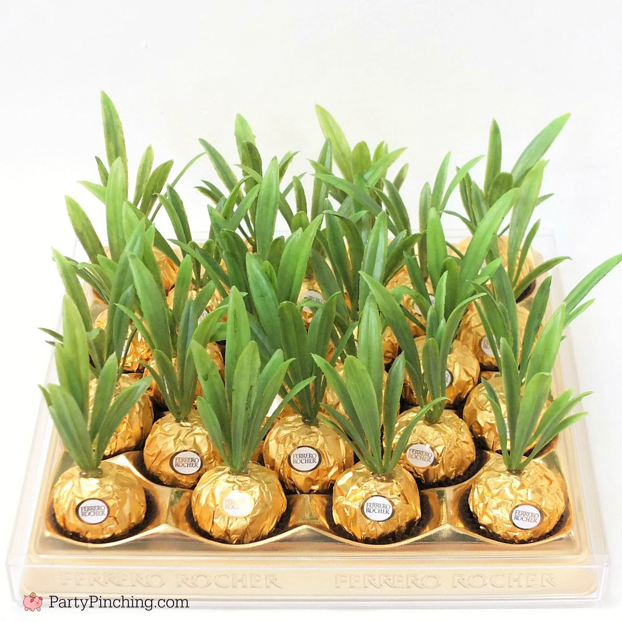 Ferrero Rocher pineapples, cute pineapple candy, pineapple party favor, Hawaiian beach pineapple luau theme party ideas, DIY pineapple candy favor