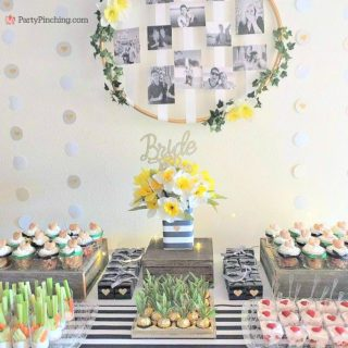Spring bridal shower, daffodil bridal shower, navy and green bridal shower, easy bridal shower food ideas, bridal shower ring game, cute food for bridal shower, easy desserts, mason jar apple rhubarb pie, mini pies, mini strawberry shortcake