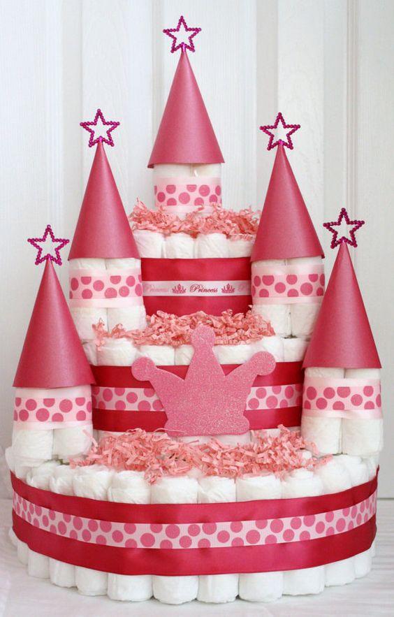 castle princess diaper cake, baby shower ideas, cute baby shower, best baby shower ideas, baby shower cake, fun games for baby shower, baby shower food
