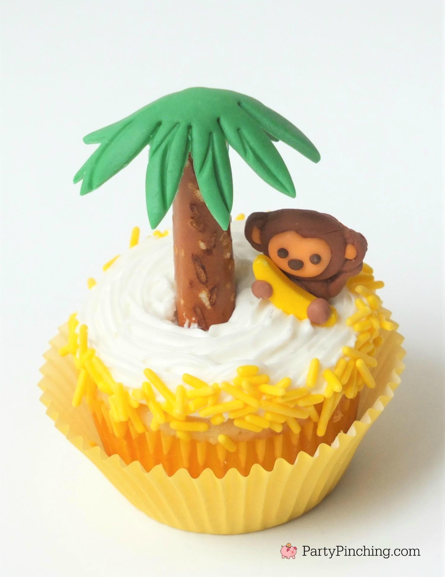 monkey cupcakes, safari jungle party ideas, cute adorable cupcakes for kids, fun food, sweet treats for birthday, monkey banana cupcake with pretzel palm tree