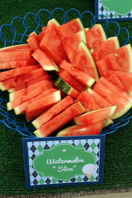 golf theme food, watermelon slices golf, golf party ideas, golf food ideas, Master's party, Father's Day golf party ideas