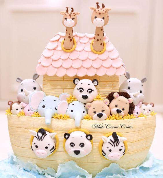 Noah's ark baby shower cake, baby shower ideas, cute baby shower, best baby shower ideas, baby shower cake, fun games for baby shower, baby shower food