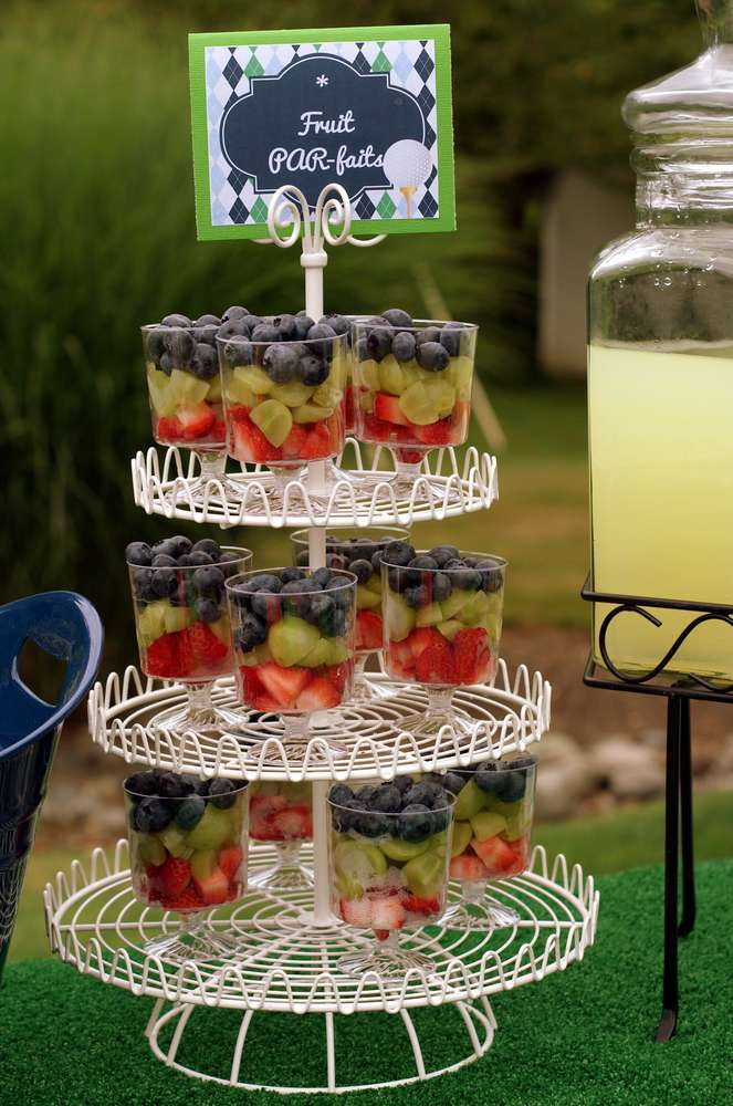 golf theme food, golf party ideas, Father's Day golf party ideas, fruit parfaits